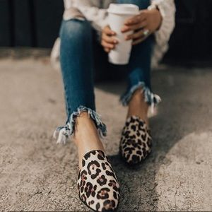 Shoes - Leopard flat slip on mules